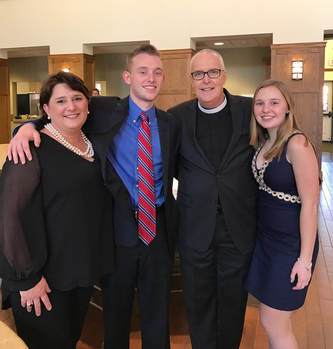 Scott Balderson, PA, was ordained a deacon in the Episcopal Church at the Canterbury School in Greensboro on January 28, 2017. Here he is at the ordination with his proud family; his wife Christina, his son Carter and his daughter Isabel.