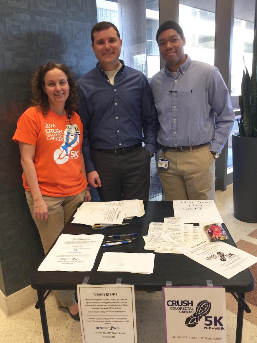 Sherri Haley, RN, Brian Blend, and Terrence Lawrence, with the GI Clinical Trials Team, invite physicians, faculty and staff to purchase Valentines Day candy-grams and CRUSH colorectal cancer. They had tables set up in the Hock building and Duke South this week.