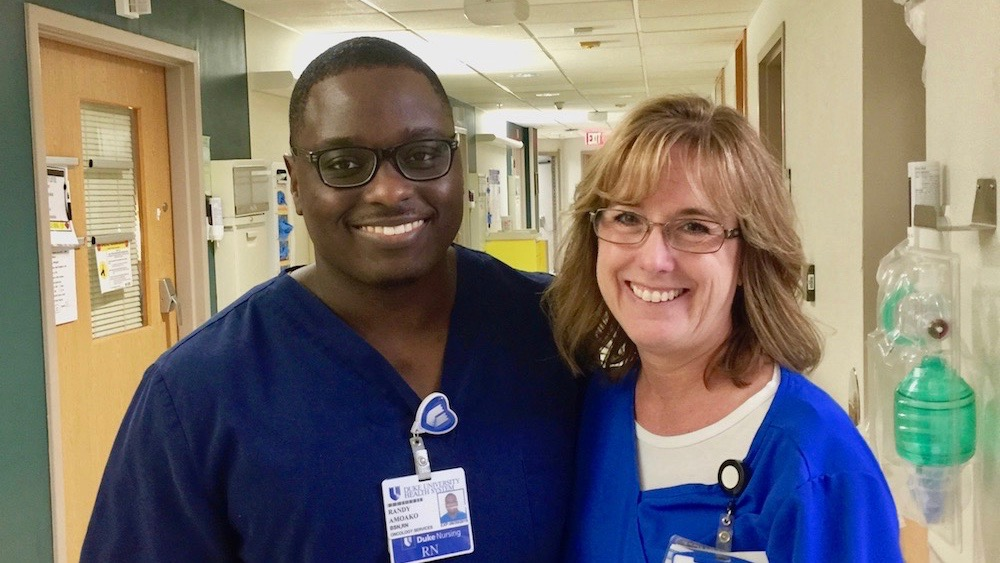 Randy Amoako, BSN, RN, with nurse manager Joey Misuraca, RN (click photo to read about their work)