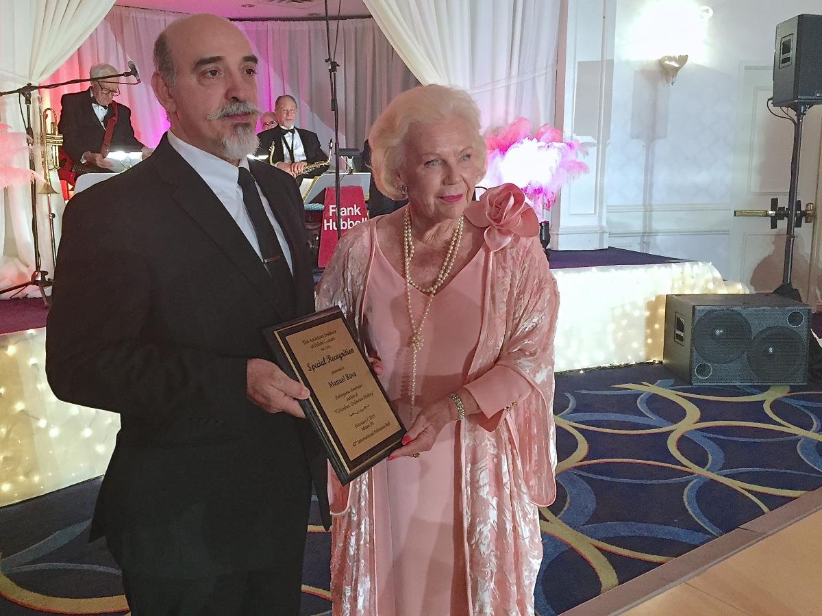 While attending the 2015 American Institute of Polish Culture, Inc., in Miami, Florida, Manuel Rosa is recognized for his work in researching the life of Christopher Columbus. The following day, Feb. 10, Rosa lectured on Columbus at Florida International University. He is pictured here with Lady Blanka Rosenstiel, who organizes the annual International Polonaise Ball.