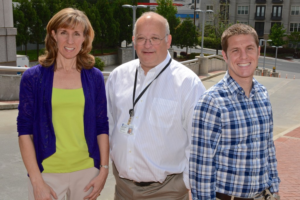 Biostatisticians Frances McSherry, MA, (left), James Herndon, PhD (center) and Patrick Healy, MS (right) are working to design, clarify logistical issues and study objectives, and determine the number of patients needed to address objectives for research using re-engineered polio viruses to fight a rare form of brain cancer.