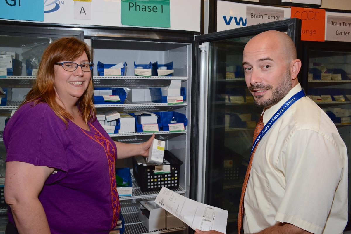 Cheryl Morgan-Maxey, clinical research coordinator, and Martin Kowalsky, PharmD, are members of the Investigational Chemotherapy Service. The service ensures that patients enrolled in clinical trials receive customized medications meeting stringent guidelines outlined by the FDA and the Cancer Therapy Evaluation Program.