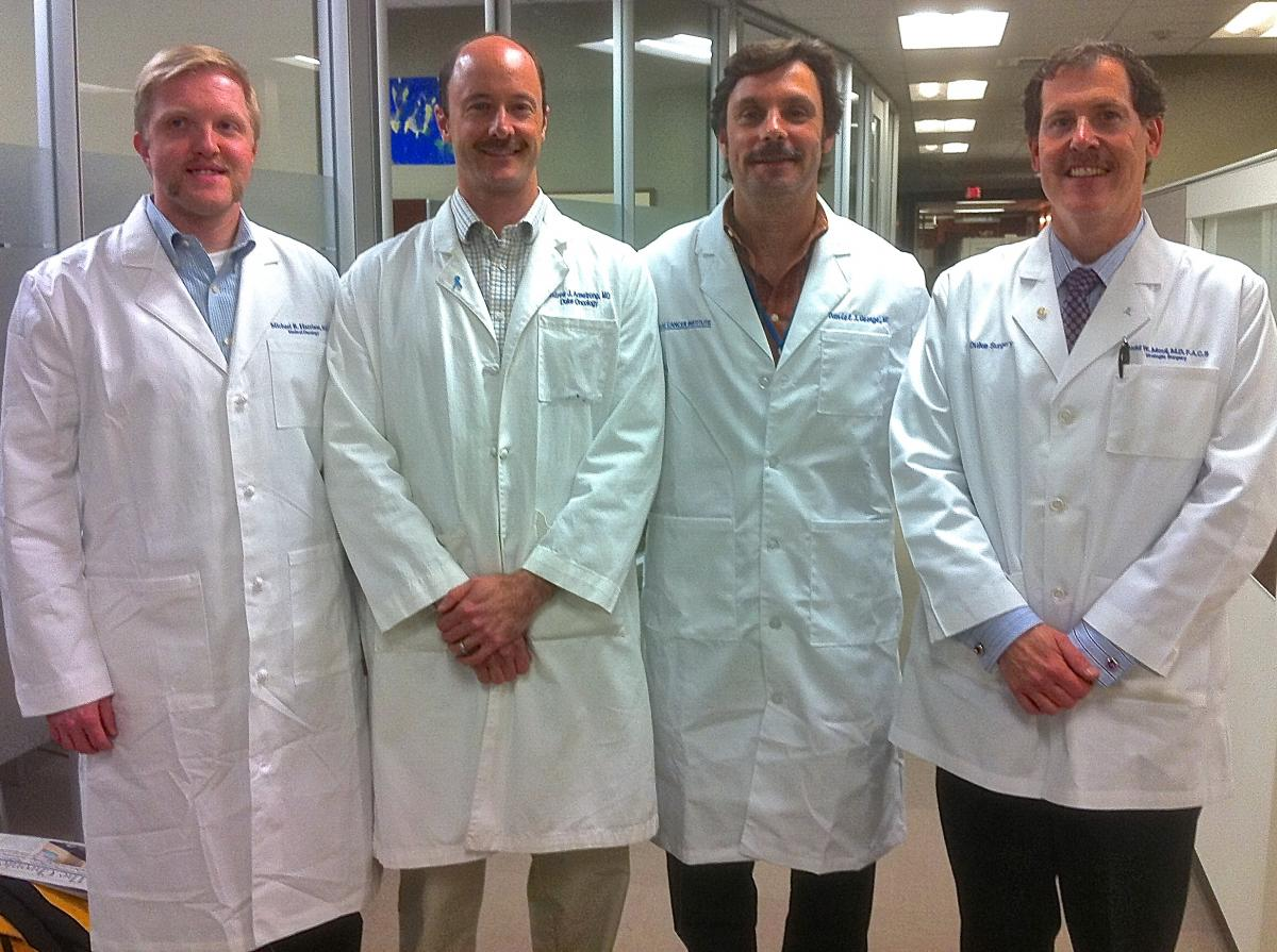 Last year's MoDuke team poses after their Movember grow out. Pictured left to right: Michael Harrison, MD; Andrew Armstong, MD, MSc; Dan George, MD; and Judd Moul, MD
