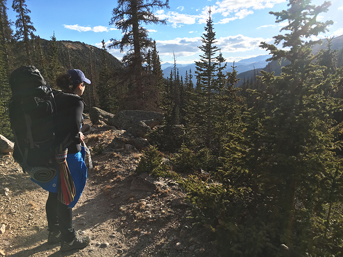 Atkinson takes a breather while on a weeklong trek in 2016 with her boyfriend hiking the Rocky Mountains in Colorado. The pair take a couple of weeks off every year to hike a national park.