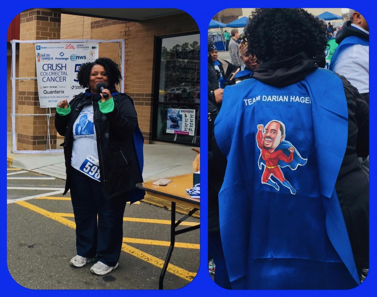 "Claudia Hager, who started ""Team Darian Hager"" in honor of her husband, accepts a medal for top fundraising team (more than $4,700) and speaks to the importance of colorectal cancer screening."
