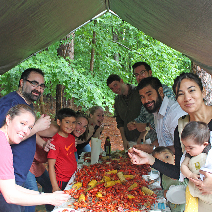One hundred guests attended the May 19 benefit crawfish boil held in the Mackey's backyard. Although there were significant downpours, the rain didn't dampen spirits.