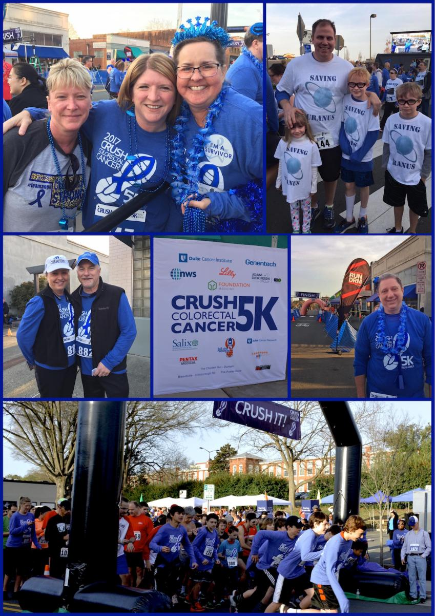 Top left: DCI IT analyst and 10-year colon cancer survivor Erin Wood, captain of Team Tush Tush (far right) with fellow CRUSHers. Top right: Scott O'Neill, husband of Duke Cancer Center PA Margot O'Neill, with their kids. Middle left: Steven Patierno, deputy director of Duke Cancer Institute and his wife. Middle right: Paul Richer, DHTS, from Team Tush Tush. Bottom: Starting line!
