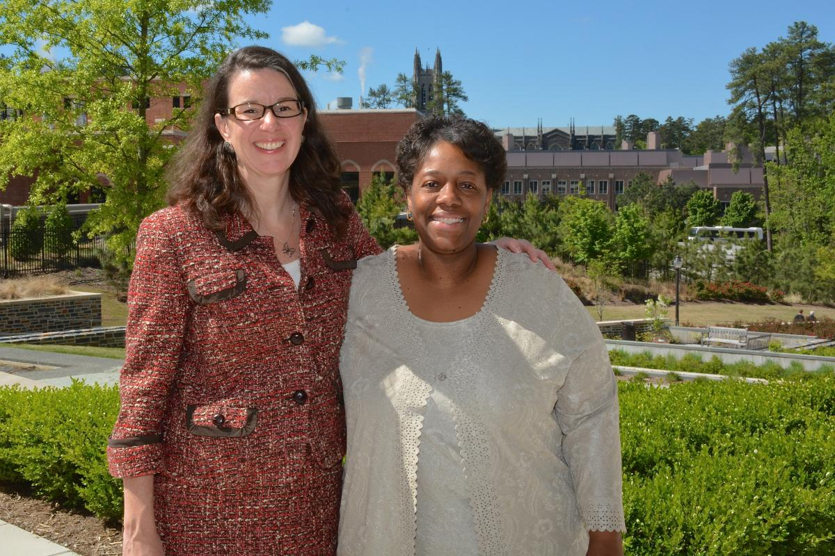 Supervisor Tracy Gosselin, PhD, RN, poses with Antoinette Pierce, who having served for more than 25 years, has been named to this year's Duke Stars.