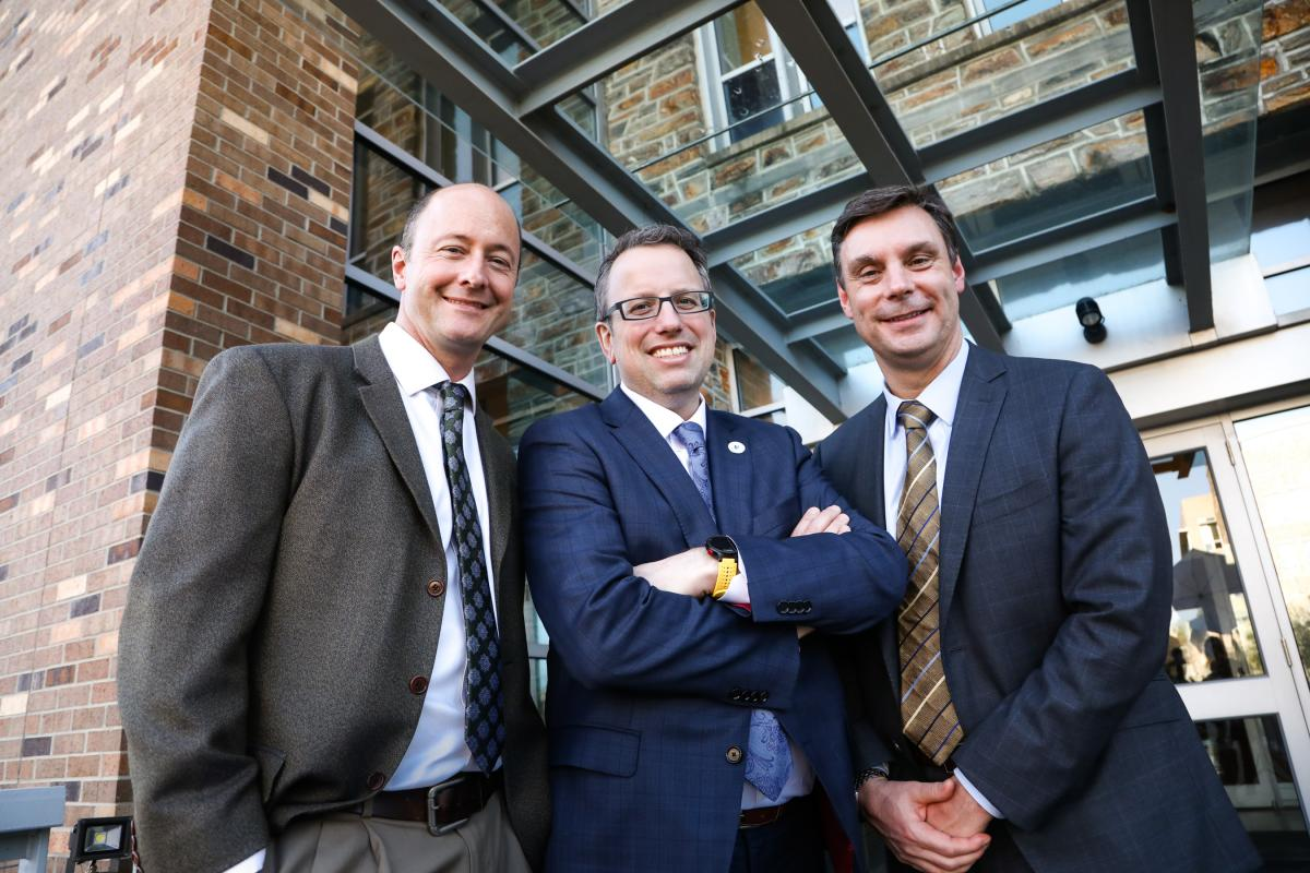 ANDREW ARMSTRONG, MD, MsC; BRANT INMAN, MD, MS; and DAN GEORGE, MD (photo by Ken Huth)