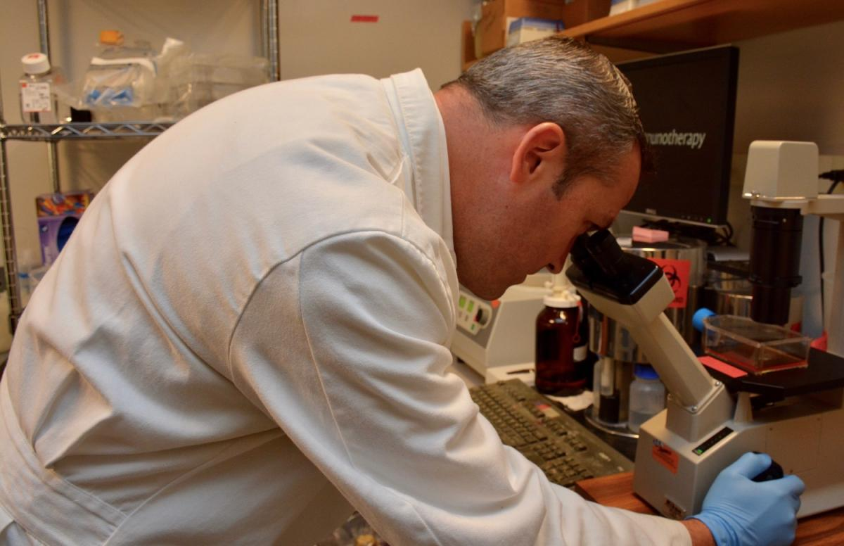 The Hanks Lab, led by Brent Hanks, MD, PhD (pictured), focuses on identifying the causes of immunotherapy resistance in the tumor micro-environment of melanoma, non-small cell lung cancer and colon cancer.
