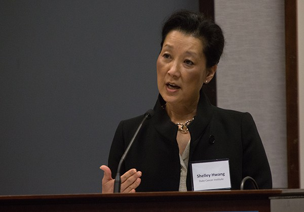 """E. Shelley Hwang, MD, MPH, shares with attendees at the June 29 Regional Cancer Moonshot. """"The 'Moonshot' offers the opportunity for scientists to decisively impact this landscape, and to change the trajectory of cancer research and discovery for the next generations,"""" she said."""