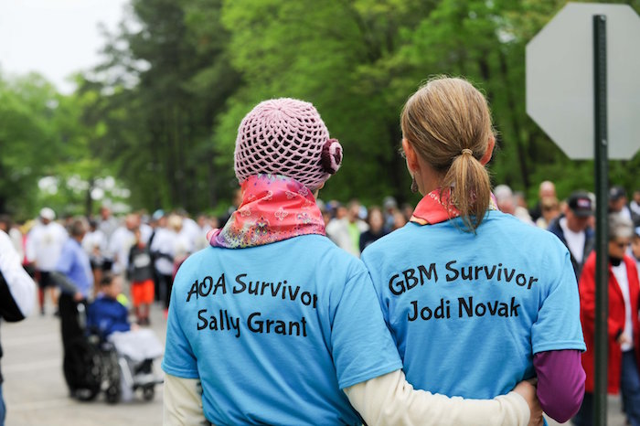 Brain cancer survivors Sally Grant and Jodi Novak participate in the 2015 Angels Among Us 5K. (photo by Jim Shaw Photography)
