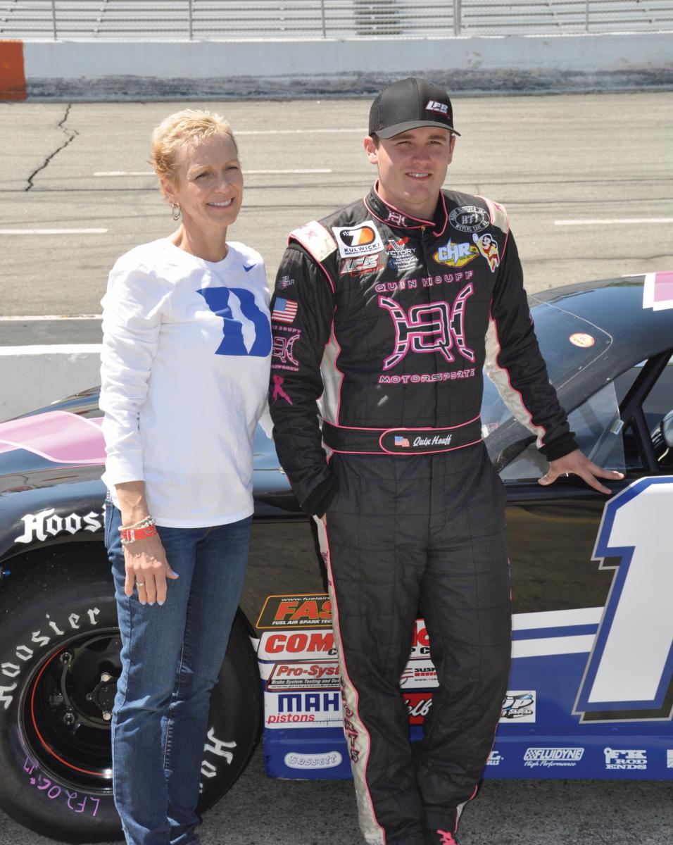 DUKE BREAST CANCER PATIENT Kate Houff with her son Quin, a NASCAR driver, who donates a portion of his winnings to Noah Kauff's research on hereditary cancer risk. To learn more, visit beatincancerwithduke.org. (photo by Erin Tait)