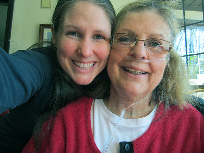 Kristen Walden, RN, BSN, OCN, CSN III, takes a selfie with her mother Barbara Sladek just before she passed away from lung cancer in 2012. Since then Walden, who cares for patients at Duke Cancer Center Raleigh, has teamed up each year with the Lung Cancer Initiative to raise awareness and funds.