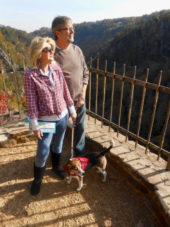 Tara and Neal Wilkes and their pet beagle enjoyed a hike in the Georgia mountains in Fall 2015. A few months later, Tara was diagnosed with pancreatic cancer.