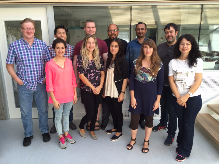 David Needham, Koji Kinoshita, Anders Utoft, Chris Code, Prasad Walke and Pablo Hervella. Front row, Melike Demir, Amina Arslanagic, Leena Karimi, Elisa Parra, and Özlem Çoban, (Melike and Özlem are visiting PhD students from Gazi University Ankara, Turkey).