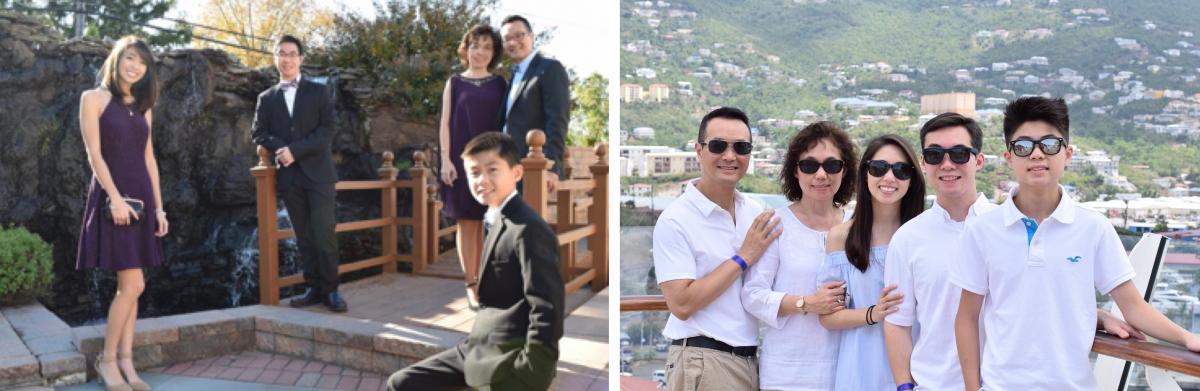 "Keith Nguyen, his wife Cathy, their daughter Amanda, and sons Alex and Adam (at left) are pictured at a wedding in 2016, before his heart attack and cancer diagnosis that threw the family for a loop. In August 2018 (at right), the family enjoyed the sunshine of the Caribbean together in celebration of Keith and Cathy's 25th wedding anniversary. ""I chose to share these before and after photos because I wanted to show that with the current meds, no one could tell I'm living with stage 4 lung cancer,"" said Nguyen."