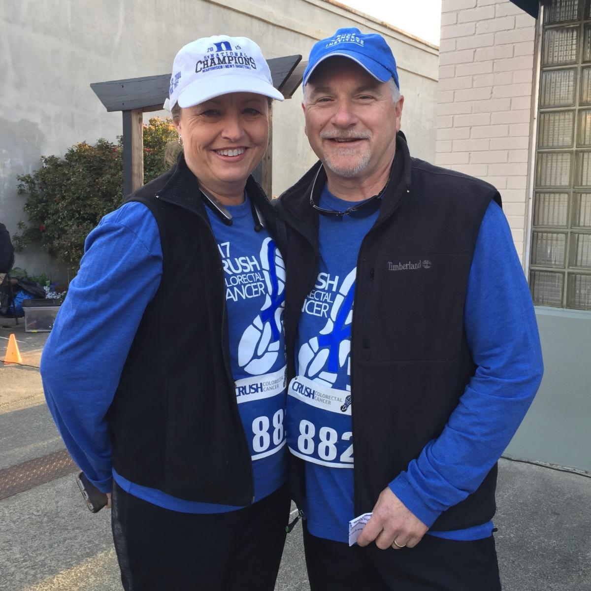 Steven Patierno, PhD, and his wife Kim are pictured here at DCI's 2017 CRUSH Colorectal Cancer 5K event. They first met in Houston when she was a cardiology nurse at Houston Methodist Hospital and he was a PhD student next door at University of Texas Health Science Center.