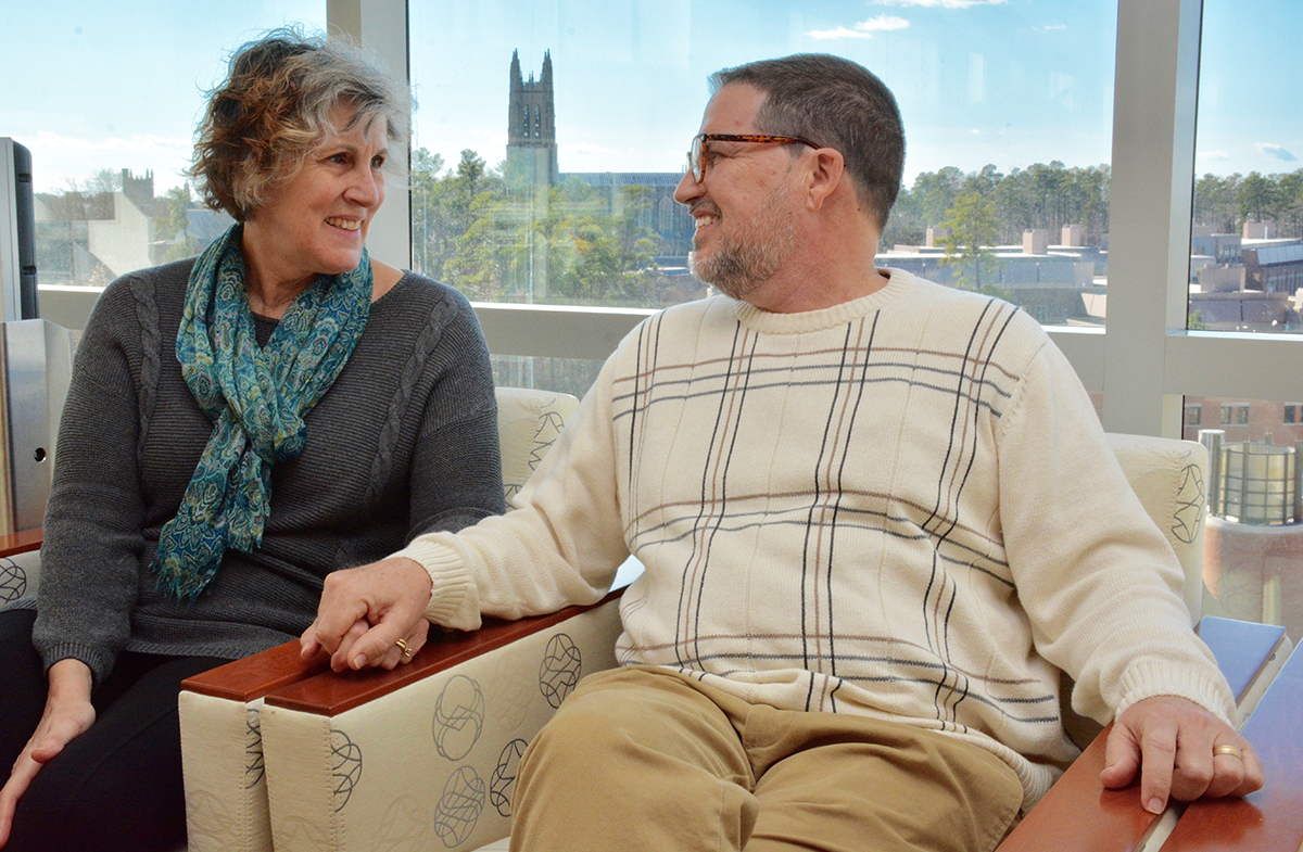 Rev. Greg Ryan and his wife, Terry, take a moment to count their blessings after a recent check-up with Duke oncologist Thomas LeBlanc, MD. Following a daunting bout with acute myeloid leukemia, Greg is now in remission.