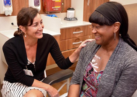 Angeles Secord, MD, with her patient Laura Elzie, ovarian cancer survivor. (click photo to read Ms. Elzie's cancer story)