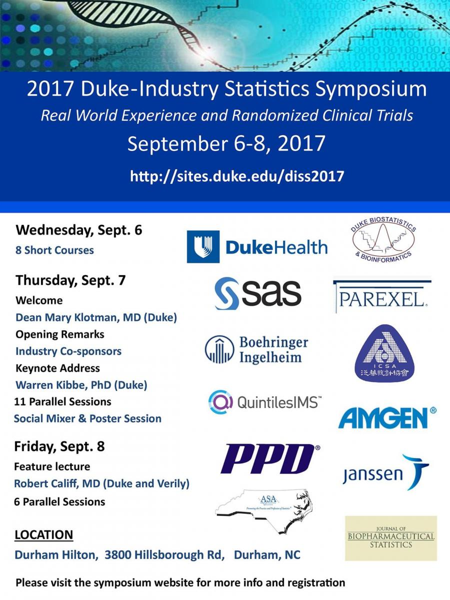 Duke Industry Statistics Symposium | Duke Cancer Institute