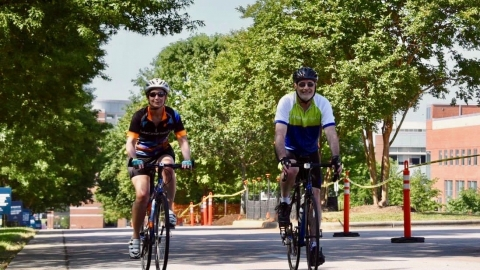 Karen Kharasch and Michael Kastan biking