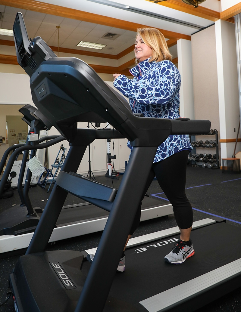 Sally Morgan on the treadmill