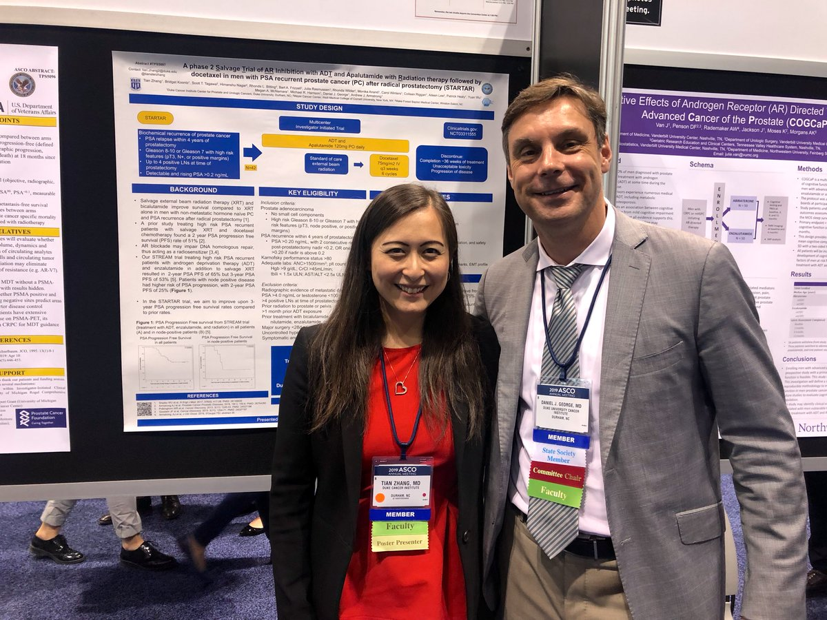 GU oncologists Tian Zhang, MD, and Daniel George, MD, at ASCO 2019 Poster Session