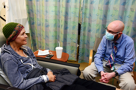 """Following kidney failure, Barbara Boros, 58, came to Duke from Santa Barbara, for a kidney transplant and bone marrow transplant; both from the same donor. It was a unique procedure, a trial that only 37 patients across the U.S. had the opportunity to take part in. """"You don't know how grateful I am every day that I got in on this,"""" she said. """"Matt told me what to expect and was very helpful."""""""