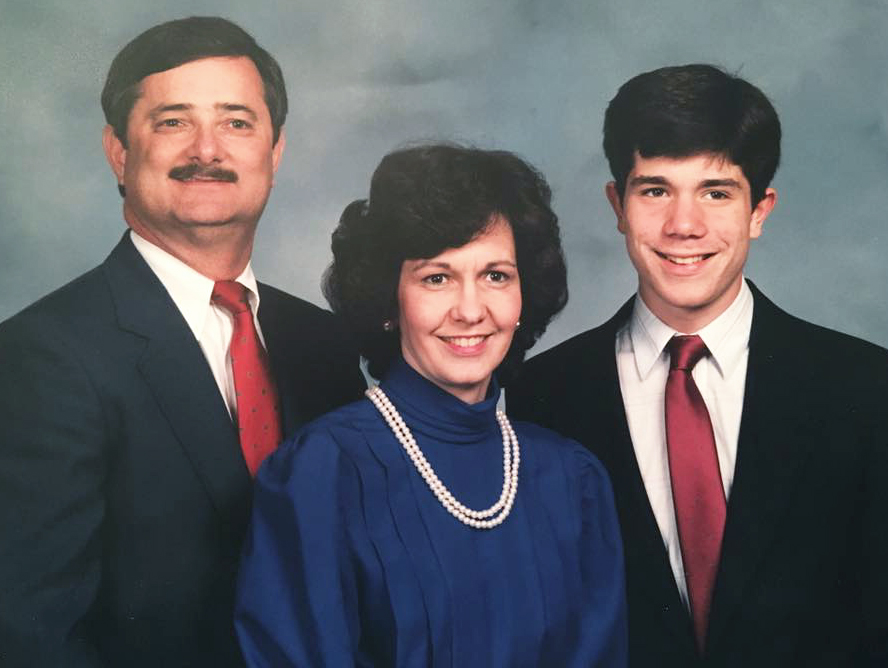 Mary Woodall is pictured in 1989 with her husband, Dewitt, and only son, Christopher Cash.