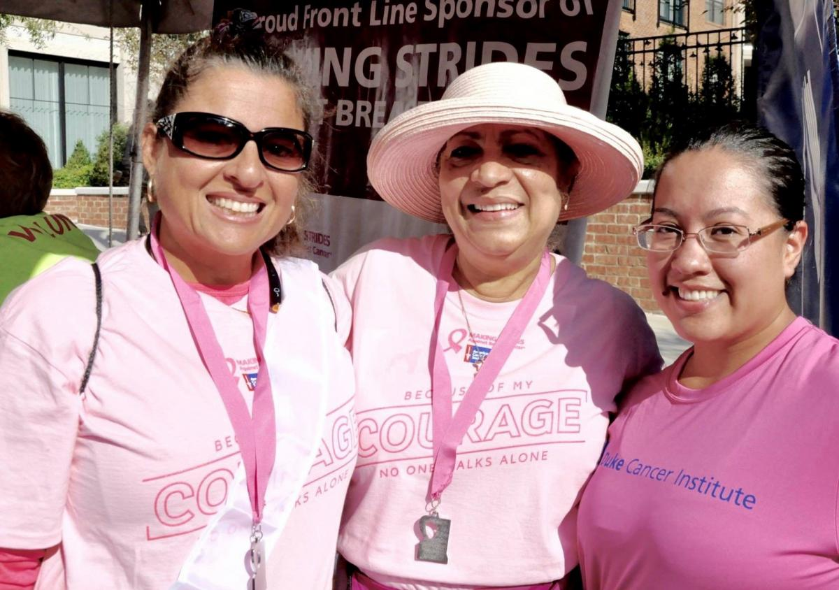 Team Renacer, led by DCI patient navigator Xiomora Boyce (center), has raised $1,500 to support Making Strides Against Breast Cancer- Raleigh, NC.