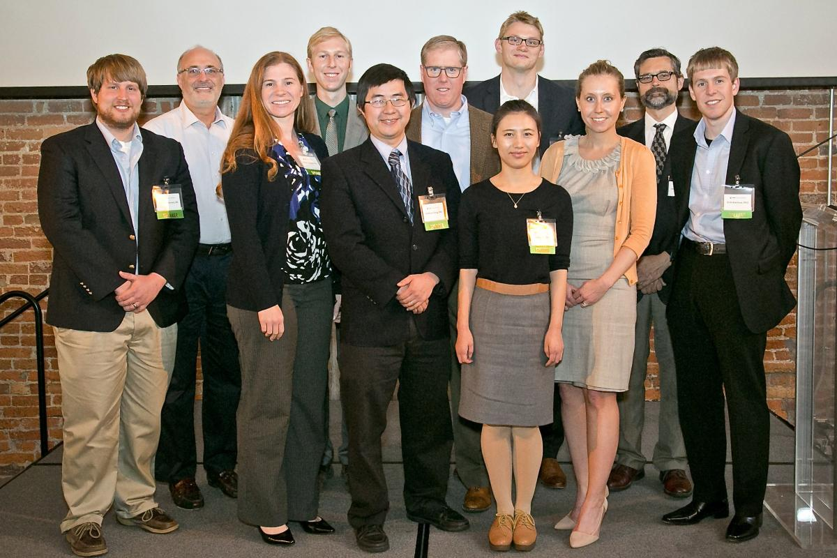 2014 DCI Scientific Retreat Awardees (left to right; back to front): Michael Brown, BS; Michael B. Kastan, MD, PhD, executive director, DCI; Rebecca Dodd, PhD; Jeff Nawrocki, BS; Anthony Sung, MD; keynote speaker Sean Morrison, PhD; Peter Winter, BS; Jieyun Yin, BS; Michaela A. Dinan, PhD; Christopher Counter, PhD; and Erik Knelson, PhD.