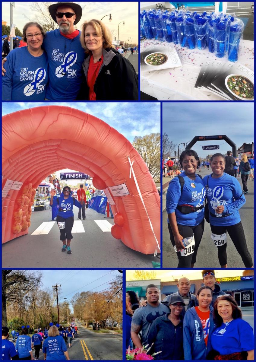 """Top left: Laurie Seaton, Joe Seaton, and Kathy Sturgis supporting """"We Love Lucy"""" team. Top right: DCI survivors tent. Middle left: Yvette Jones at the finish line. Middle right: Yvette Jones and Tonneta Drummond from """"Team River For Kay."""" Bottom left: CRUSHing through Durham! Bottom right: Duke patient navigator Xiomara Boyce (far right) with colon cancer survivor Federico Manon (back middle) and family"""