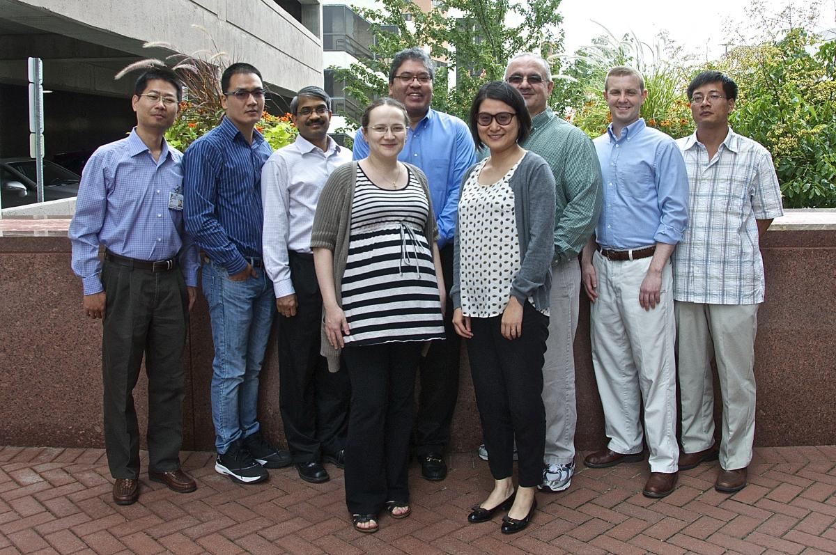 Pictured from back, left to right: Wei Chen, Ph.D., Biostatistics Shared Resource; Yuan Wu, Ph.D., Affiliated Bioinformatics Faculty; Pankaj Agarwal, Biostatistics Shared Resource; Salvatore Mungal, Biostatistics Shared Resource; Kouros Owzar, Ph.D., Biostatistics Shared Resource; Alex Sibley, Biostatistics Shared Resource; and Zhiguo Li, Ph.D., Affiliated Bioinformatics Faculty. Pictured front, left to right Dr. Raluca Gordan, Ph.D., Affiliated Bioinformatics Faculty; and Jichun Xie, Ph.D., Affiliated Bioinformatics Faculty Missing Dr. Cliburn Chan, Ph.D.; Affiliated Bioinformatics Faculty, Chen Jiang, Ph.D, Alliance for Clinical Trials in Oncology; and Flora Mulkey, Alliance for Clinical Trials in Oncology.