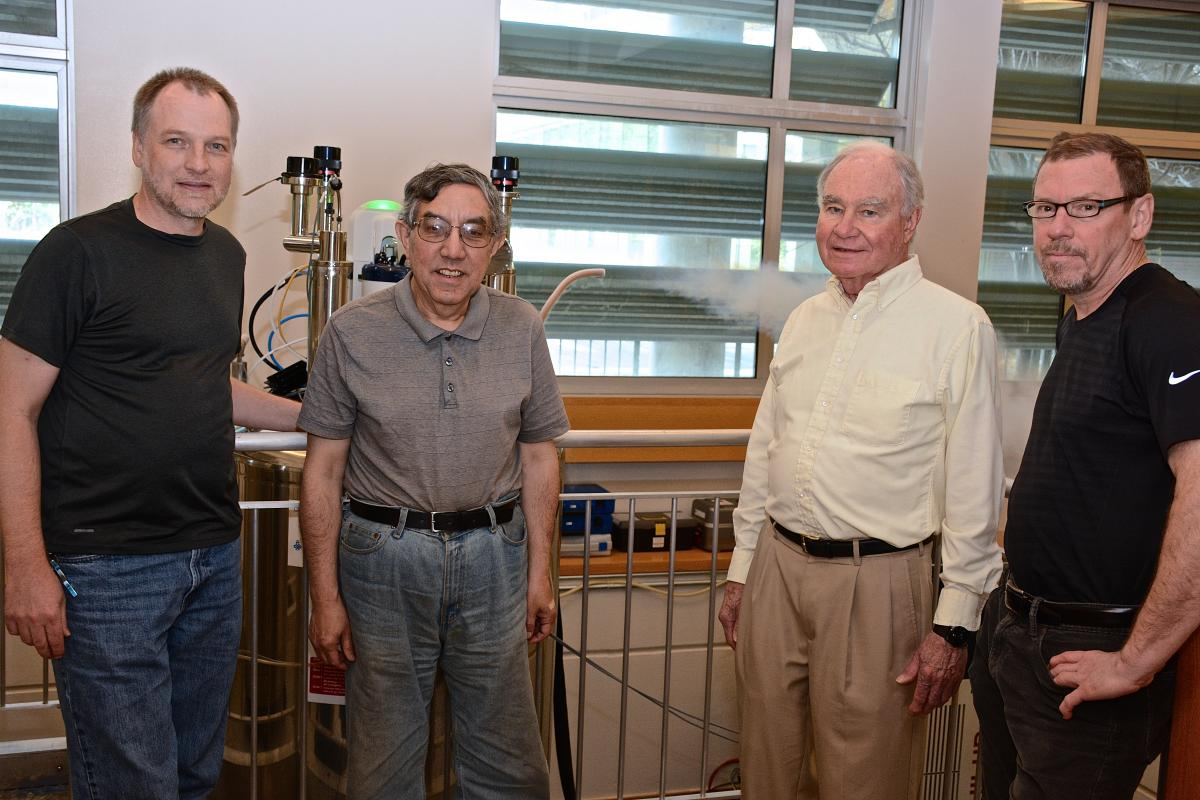 The Duke NMR Center team (from left to right): Don Mika, NMR instrument specialist; Anthony Ribeiro, PhD, NMR operations manager and senior spectroscopist; Leonard Spicer, PhD, NMR Center director; and Ronald Venters, PhD, NMR associate director and senior spectroscopist.