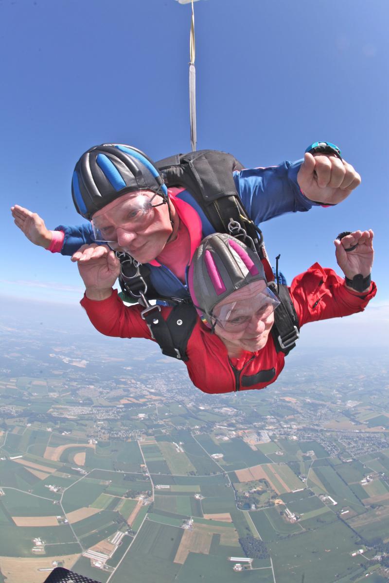 Barbara Whiteman, 80, makes her first jump in July in Maytown, Pennsylvania. Whiteman will make her next jump with cancer survivor Bob Norris on Nov. 9.