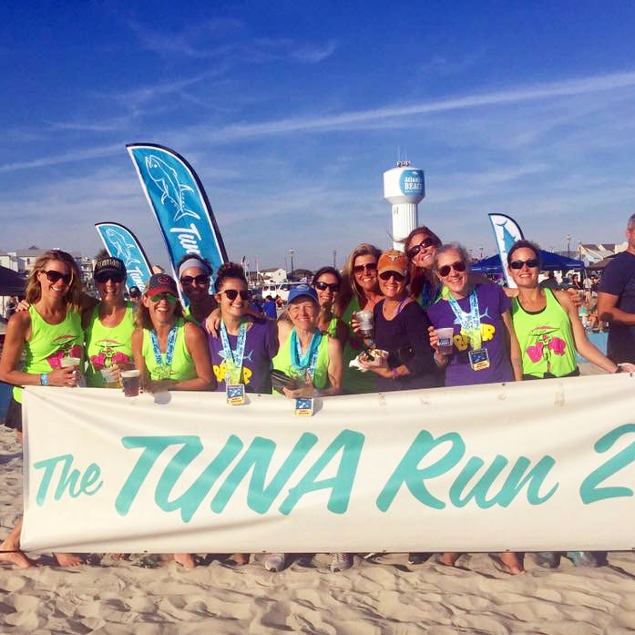 One of only a handful of all-women teams that compete in the Tuna 200, the BAMRs 12-person relay team celebrates completing the Tuna Run 200. The team ran 200 miles to raise money for the Pretty in Pink Foundation, which has covered the cost of thousands of life-saving breast cancer treatments for 13 years. They are looking forward to your support again this year.