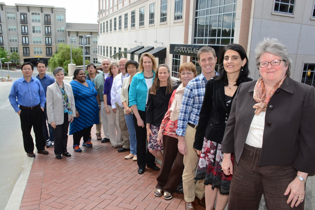 Terry Hyslop, PhD, director of the Biostatistics Shared Resource, poses with the rest of the Biostatistics team.