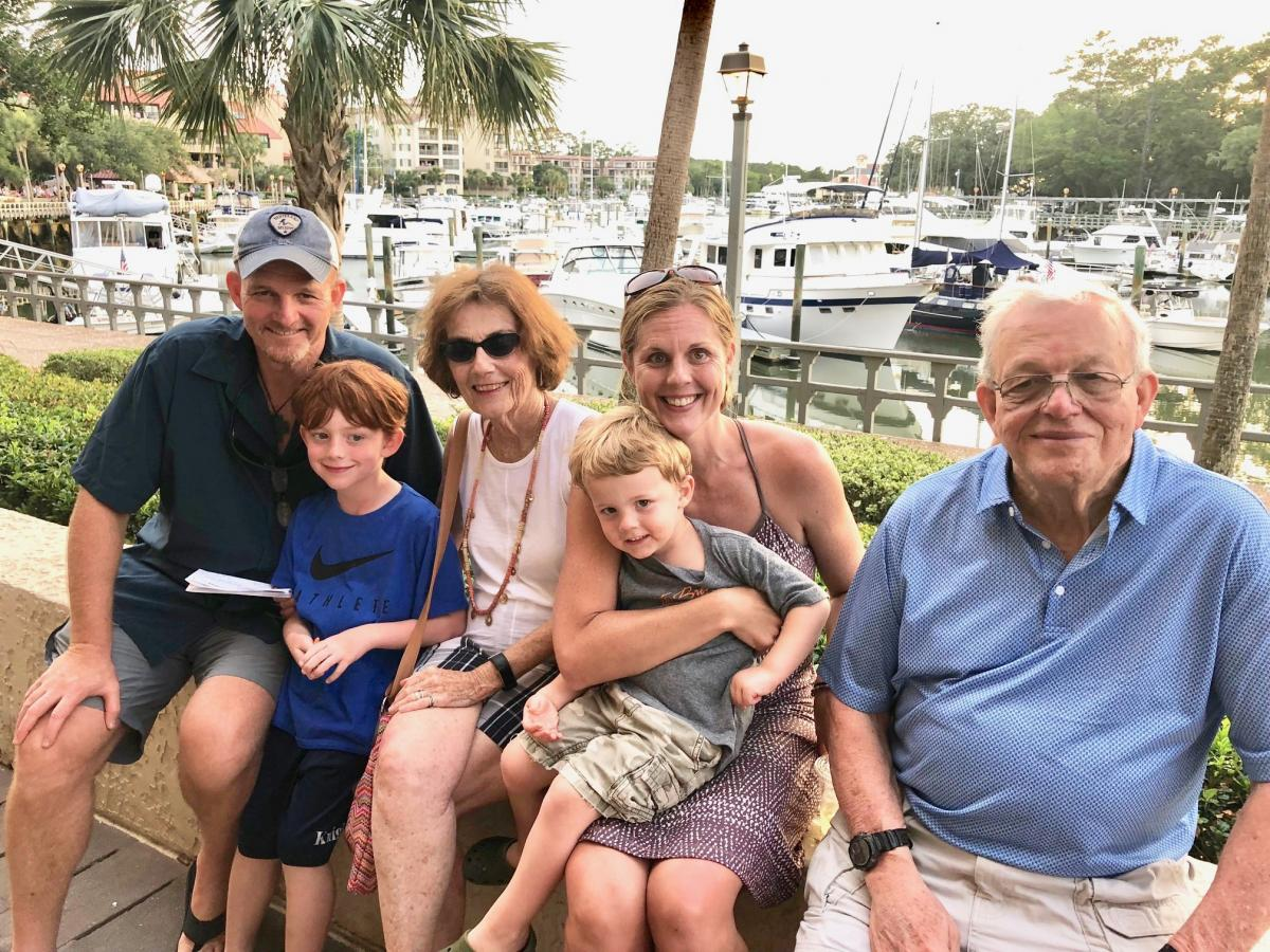"""""""If I live to be 80 years old, cancer may have been the best thing that ever happened to me,"""" said Bob Thomas, pictured above in Hilton Head, South Carolina, earlier this summerwith his parents Jim and Carol Thomas, his wife Candace and sons Johnathan and Jake.""""It probably made me a better dad, a better husband, a better friend, a better person."""""""