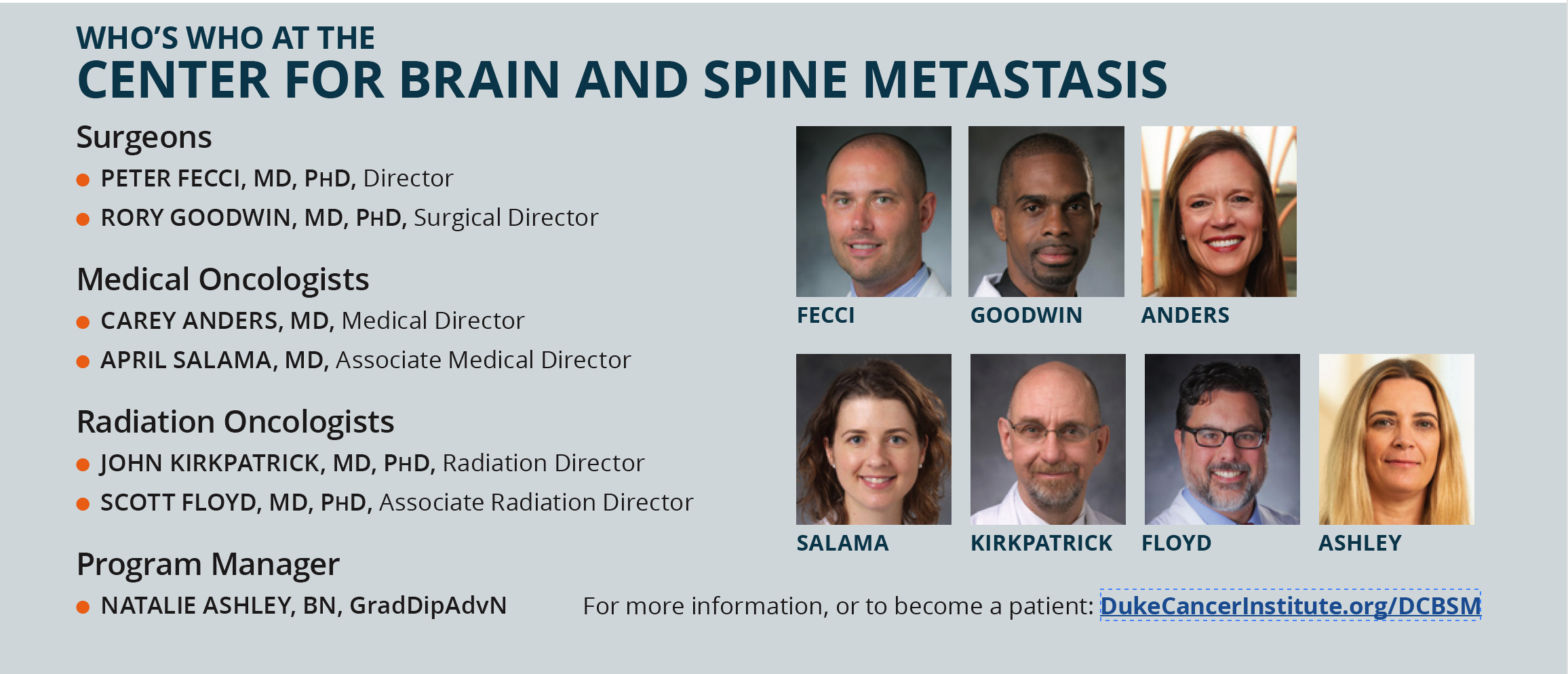 Who's Who at the Center for Brain and Spine Metastasis