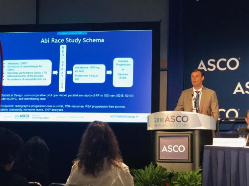 Daniel George, MD, director of the Duke Prostate & Urologic Center, presents findings at the 2018 annual meeting of the American Society of Clinical Oncology on Friday, June 1.