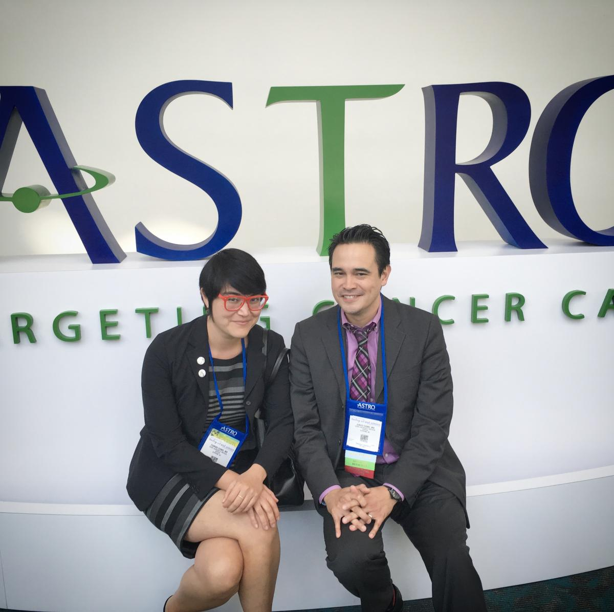 Siblings Fumiko Chino, MD, and Junzo Chino, MD, co-authors of a study, with Arif Kamal, MD, comparing opioid associated deaths in cancer patients and survivors vs. the general population.