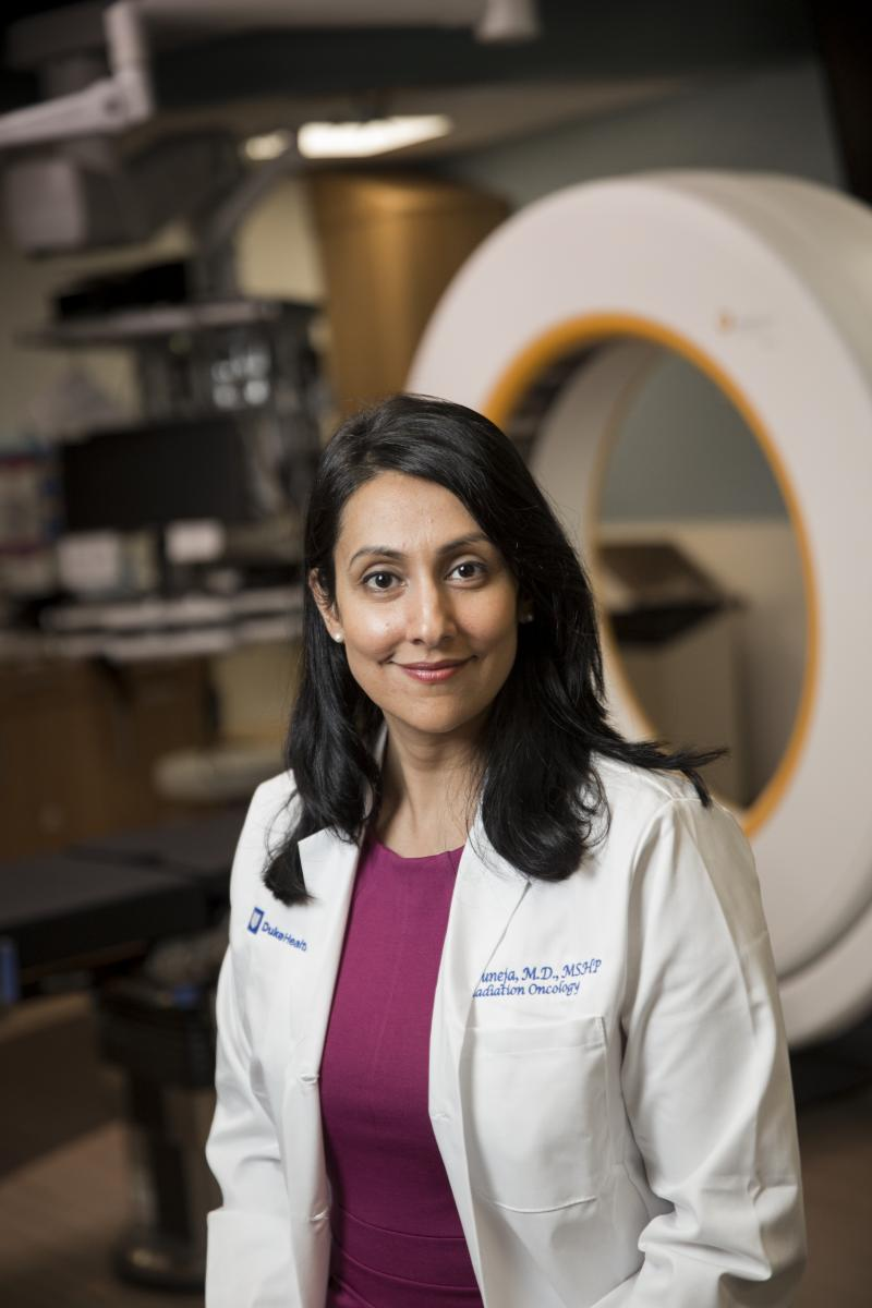 Gita Suneja, MD, MSHP, served on the faculty at UPENN and University of Utah, before joining Duke Cancer Institute in 2016. Her National Cancer Institute Career Development Award will pay 75 percent of her salary for the next five years, with the expectation that 75 percent of her effort is spent on research. (photo by Shawn Rocco)