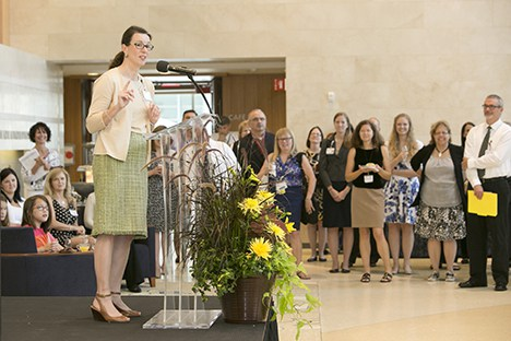 Gosselin bids former DCI administrator Carolyn Carpenter adieu at a 2014 farewell reception when Carpenter was named interim senior vice president of operations for Duke University Hospital.