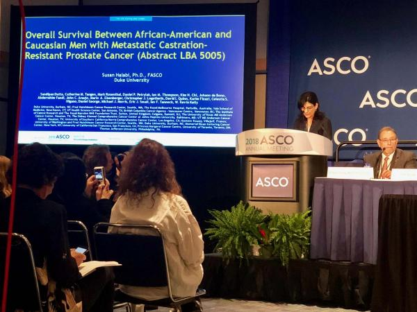 Lead author Susan Halabi, PhD, presents her study on Friday, June 1, at the annual meeting of the American Society of Clinical Oncology (ASCO), held in Chicago, Illinois.