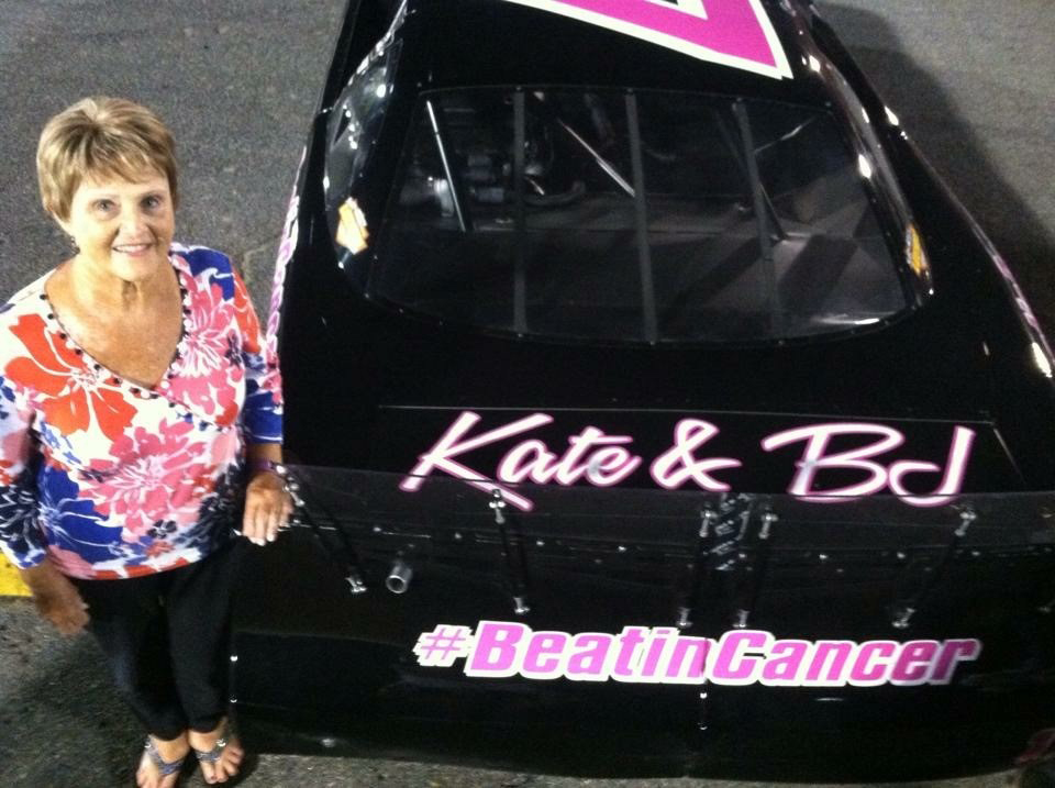 Quin Houff, 19, is gearing up to race in his first ARCA Racings Series event. However, he unites his passion for raising with his commitment to move breast cancer research forward. In memory of his beloved grandmother, BJ (pictured), and in honor of his mother, Kate, and grandmother, Maggie, all of whom battled breast cancer, Houff will donate half of any winnings to breast cancer research at Duke.