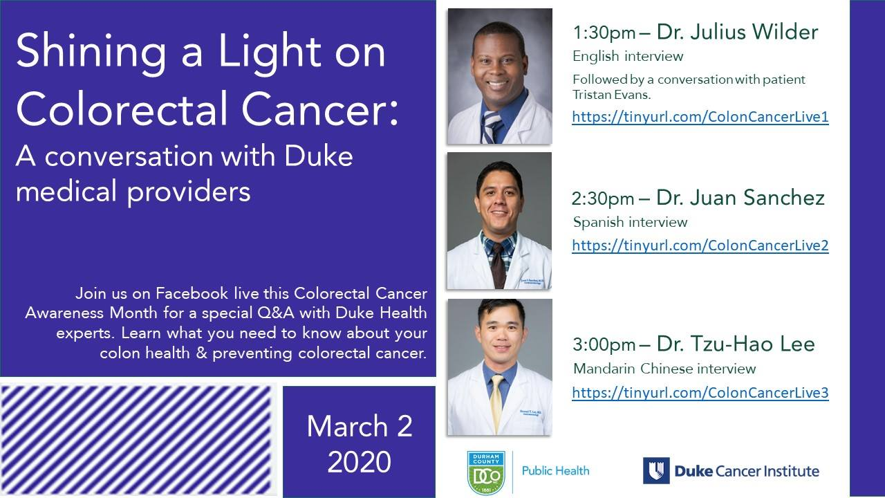 March 2nd Facebook Live Colorectal Cancer
