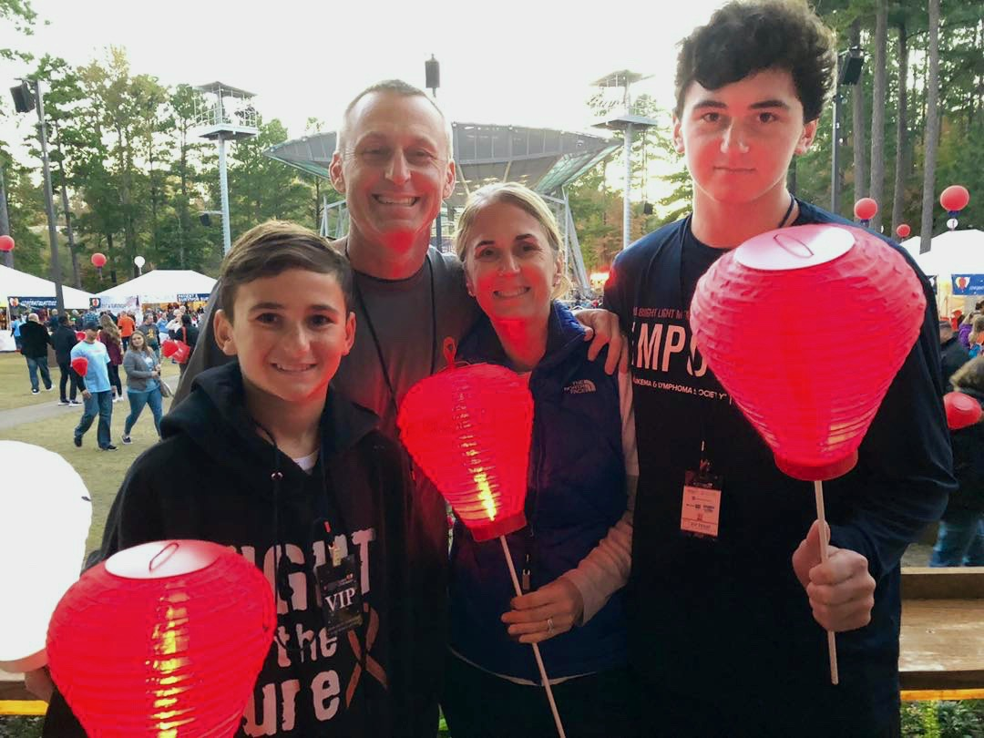 The Zaas family celebrate survivorship at Light the Night 2018.