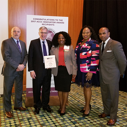 2017 Innovator Award: DCI deputy director Steven Patierno, PhD; Mark Soberman, MD, ACCC; Nadine Barrett, PhD, OHE; Kearston Ingraham, MPH, OHE; and Ronald Godbee, pastor, The River Church, Durham, NC.