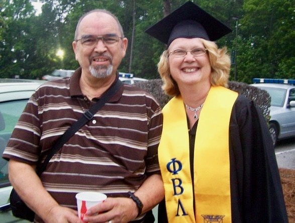 In 2011 Karin enrolled in community college. At well past 50 years-old, and in a wheelchair following several knee and ankle surgeries, her husband David pushed her around campus. She graduated, with honors, with an associate's degree in office administration/legal. Now David, who's battling metastatic prostate cancer, is leaning on her.